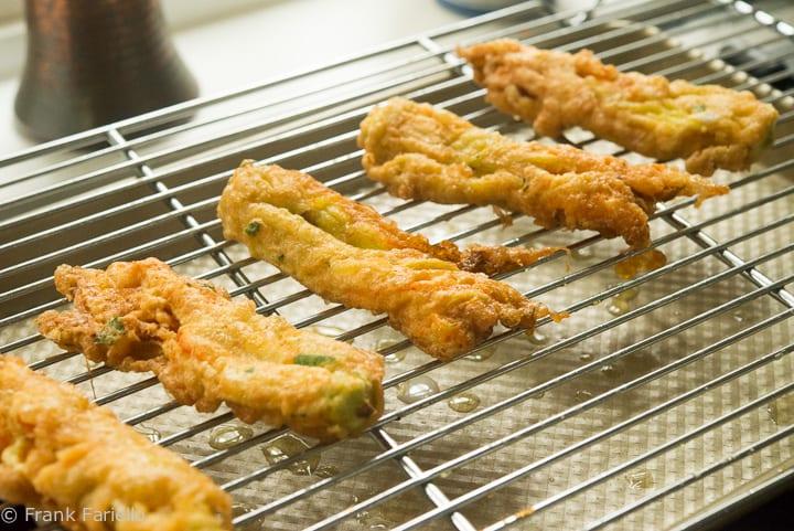 Fried Fiori di Zucca on a grill